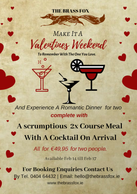 Enjoy a Valentine's Day Menu including a  2X Course Meal With A Cocktail of your Choice on Arrival.